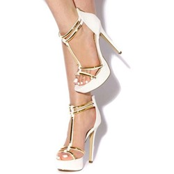 Shoespie White Golden Trim Platform Stiletto Heel Sandals