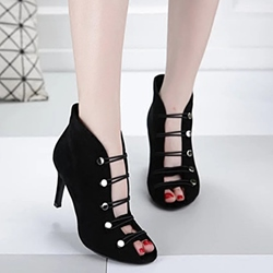 Shoespie Button Peep Toe Stiletto Heel Booties
