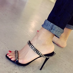 Shoespie Black Chain Decorated Starp Stiletto Heel Mules