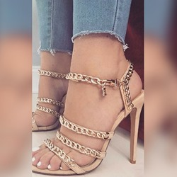 Shoespie Chain Decorated Strappy Stiletto Heel Sandals