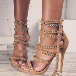 Shoespie Chain Tassel Open Toe Dress Sandals