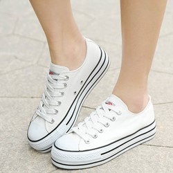 Shoespie Classic Platform Lace Up Canvas Shoes