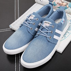 Shoespie Blue Lace Up Men's Canvas Shoes