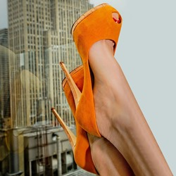 Shoespie Trendy Orange Color Peep Toe Platform Heels