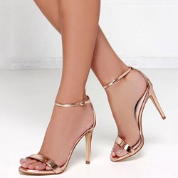 Shoespie Golden Ankle Strap Stiletto Heel Sandals