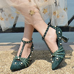 Shoespie Luxurious Beaded Mid Heel Pumps