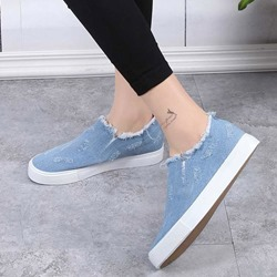 Shoespie Raw Edge Slip On Denim Sneakers