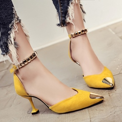 Shoespie Metal Cap Toe Kitten Heel Pumps