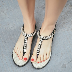 Shoespie Awesome Rhinestone Thong Flat Sandals