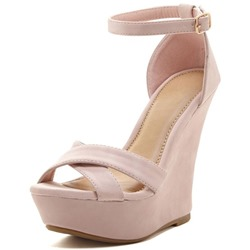Shoespie PInke Line-Style Buckle Platform Wedge Heel Sandals