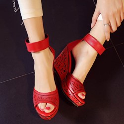 Shoespie Smart Cut Out Ankle Wrap Wedge Sandals