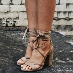 Shoespie Open Toe Cross Strap Chunky Dress Sandals