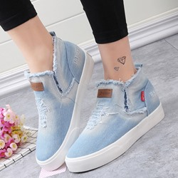 Shoespie Raw Edge Platform Slip On Denim Casuals