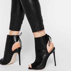 Shoespie Black Patent Leather Back Tie Summer Booties