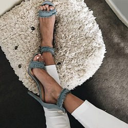 Shoespie Denim Open Toe Stiletto Heel Sandals