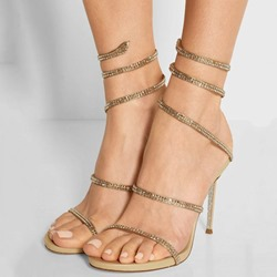 Shoespie Golden Sequined Strappy Wrap Dress Sandals