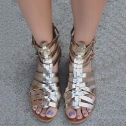 Shoespie Golden Cross Strappy Gladiator Sandals