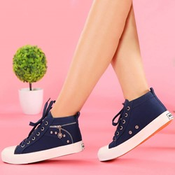 Shoespie Cute Side Zippers Decorated Canvas Shoes