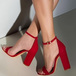 Shoespie Red Open Toe Strappy Chunky Heel Sandals