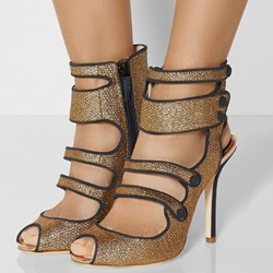 Shoespie Golden Buttons Peep Toe Sandals