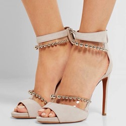 Patchwork Beads Stiletto Heel Sandals