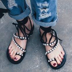 Shoespie Smart Black Rhinestone Lace Up Flat Sandals