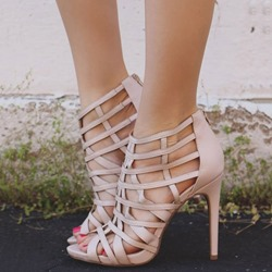 Shoespie Cage Back Zipped Peep Toe Stiletto Heel Sandals