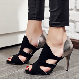 Shoespie Stylish Cut Out Cage Peep Toe Heels