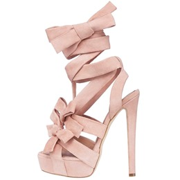Shoespie Super Cute Pink Strappy Bows Stiletto Heel Sandals