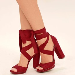 Shoespie Red Ankle Wrap Peep Toe Chunky Heel Sandals
