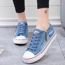 Shoespie Cute Side Zipper Lace Up Denim Shoes