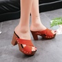 Suede Platform Chunky Heel Mules Shoes