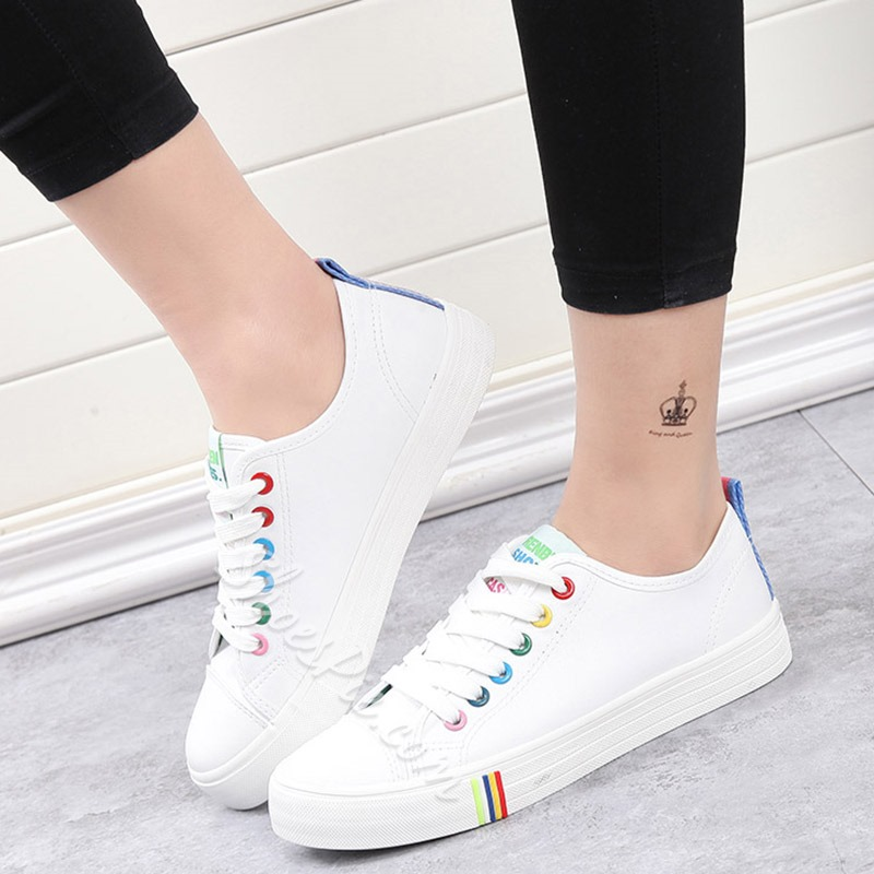 Shoespie Cute Colorful Lace Hole Canvas Sneakers