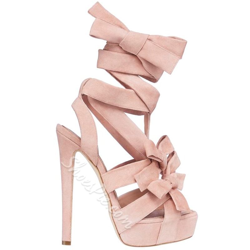 2d3a9da9b8a1a3 Shoespie Super Cute Pink Strappy Bows Stiletto Heel Sandals ...
