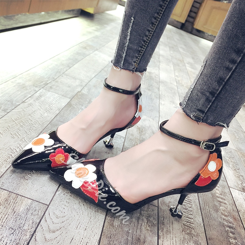 Shoespie Cute Floral Appliqued Kitten Cheap Heels