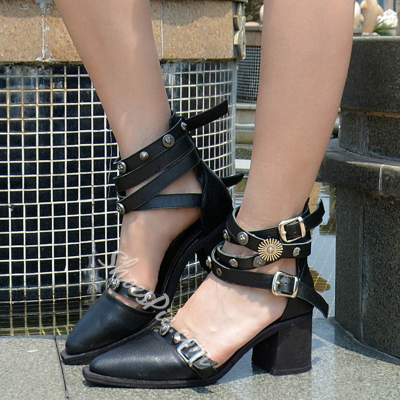 Shoespie Design Punk Style Strap Buckles Low Heels