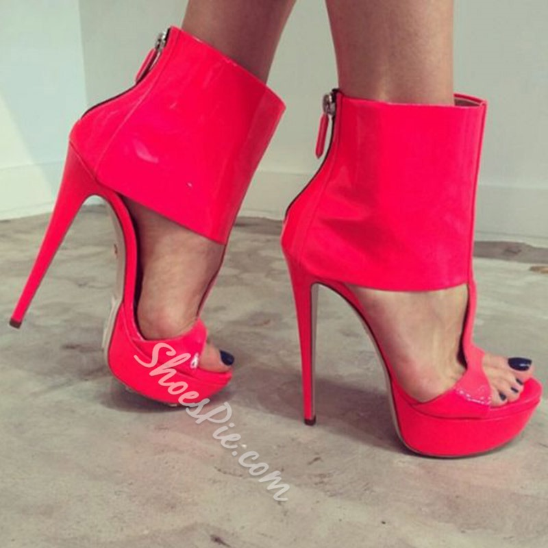 Shoespie Platform Zipper Stiletto Heel Sandals