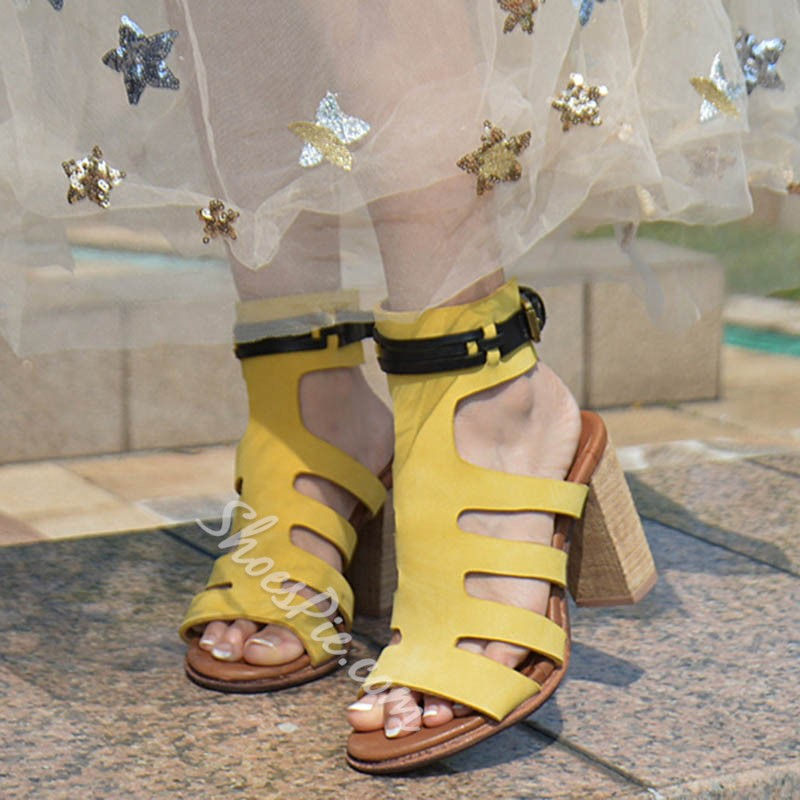 Shoespie Primrose Yellow Cage Chunky Heel Dress Sandals