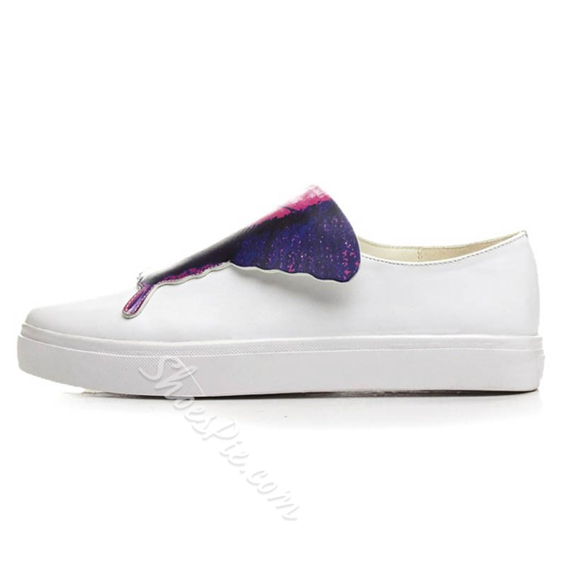 Shoespie Cute Butterfly Appliqued White Sneakers