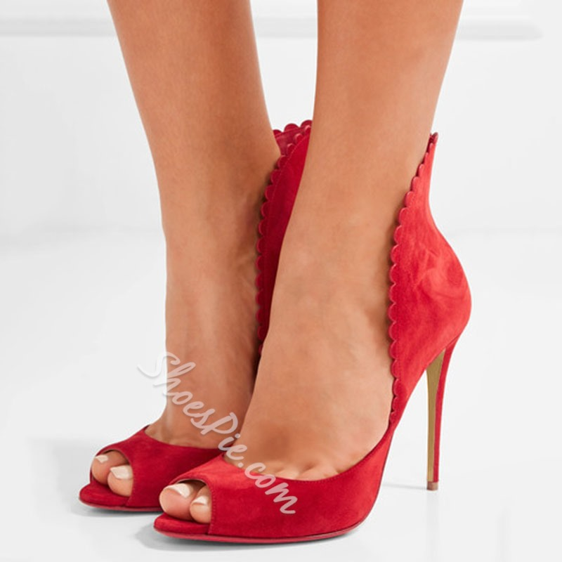 Shoespie Smart Red Curve Tab Peep Toe Stiletto Heels