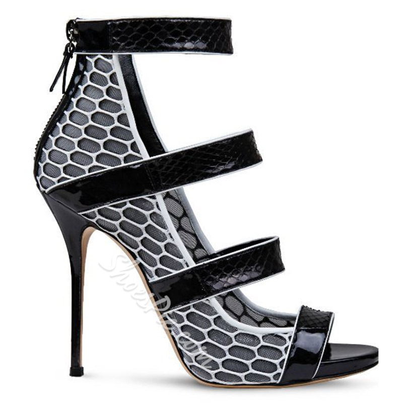 Shoespie Patchwork Hollow Stiletto Heel Sandals