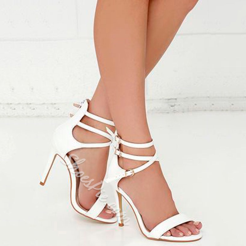 Shoespie White Open Toe Stiletto Heel Sandals