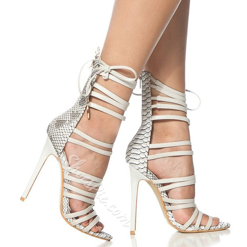 Shoespie Lace Up Embossed Leather Stiletto Heel Sandals