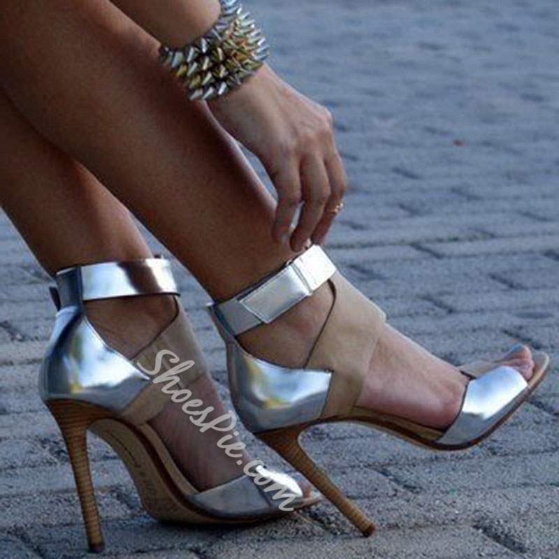 Shoespie Space Age Sliver Patchwork Peep Toe Stiletto Heels