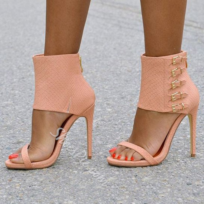 Shoespie Stylish Ankle Wrap Buckles Back Zipped Stiletto Heel Sandals