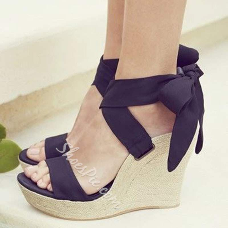 Shoespie Black Bowtie Wedge Heel Sandals