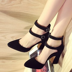 Shoespie Pointed Double Ankle Wrap Metal Buckles Thick Heels