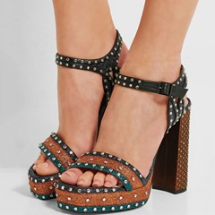 Shoespie New Color Block Rivets Platform Heel Sandals