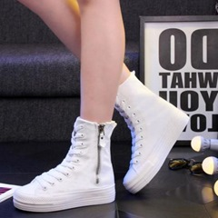 Shoespie Platform Side Zipper Hidden Wedge Canvas Shoes
