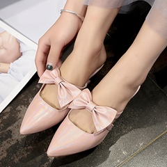 Shoespie Princess Bowknot Pointed-Toe Backless Low Heels